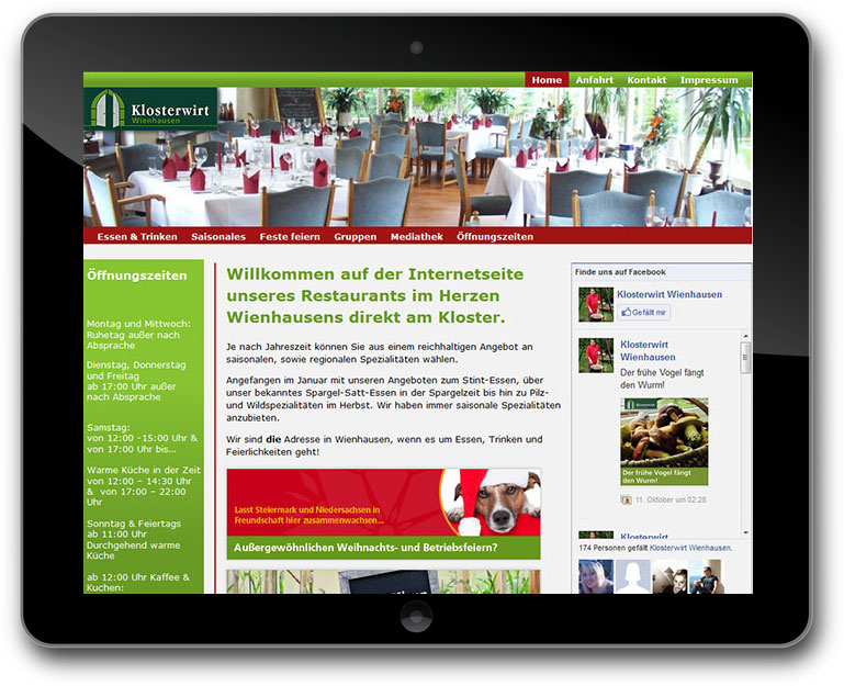 Restaurant Website CMS: TYPO3
