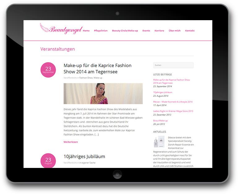 Website mit Kosmetik Event Promotion