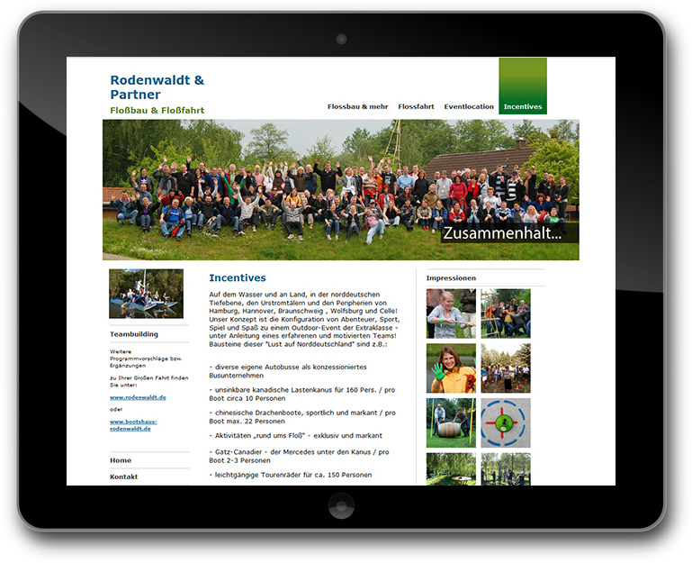 Teamevents Website mit CMS TYPO3