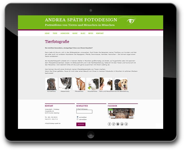 Portraitfotos von Tieren und Menschen - Webseite mit Blog & Soclial Media Einbindung