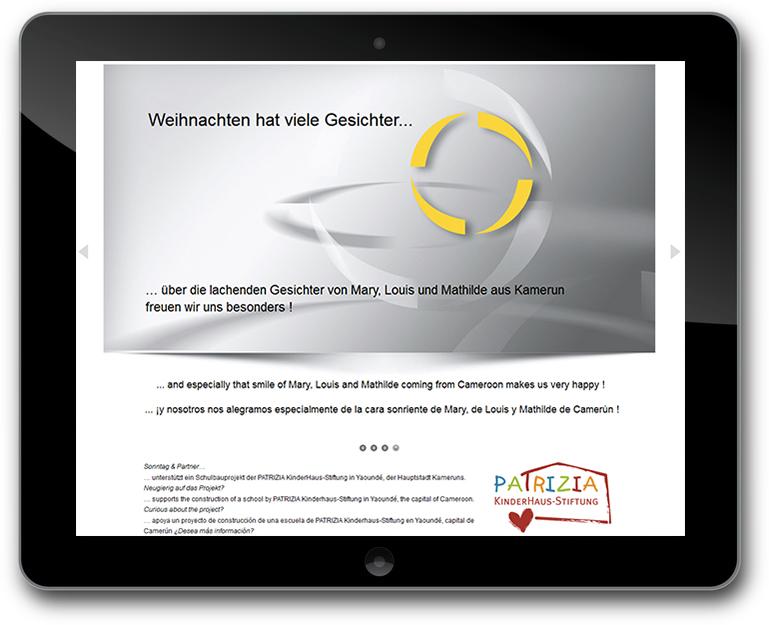 Webseite mit Weihnachtsgruesse - Sonntag & Partner