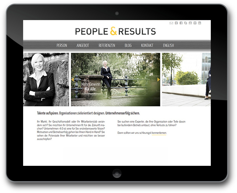 Website für People & Results - Strategie Umsetzerin