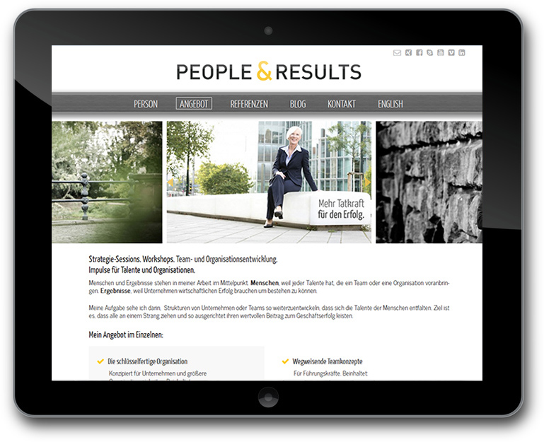 Website - Responsive Slider für Business Portraits
