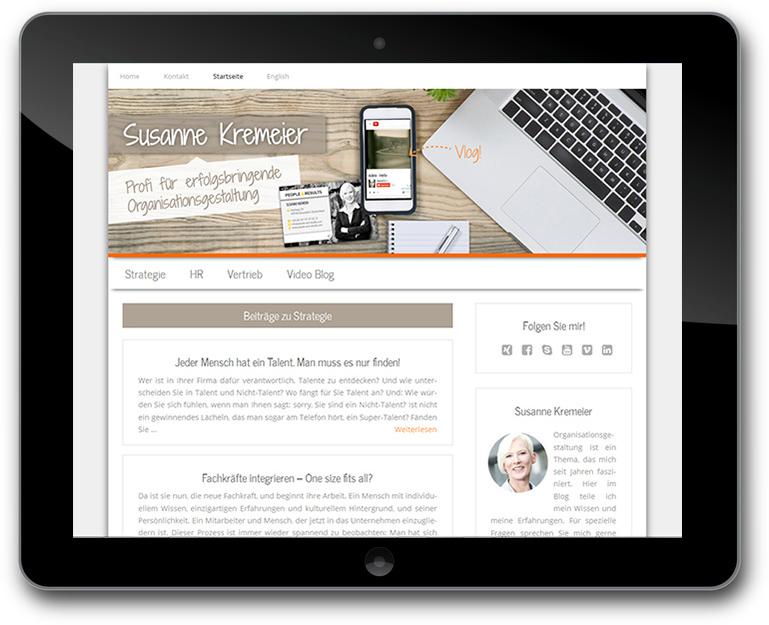 WordPress Blog für Susanne Kremeier - Strategie Umsetzerin