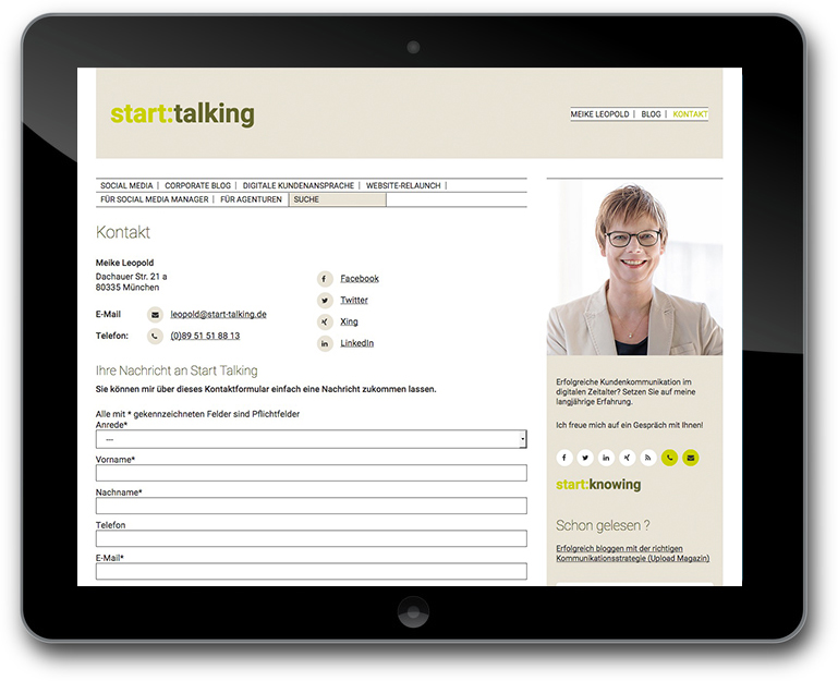 Meike Leopold - Start:Talking - Responsive Website