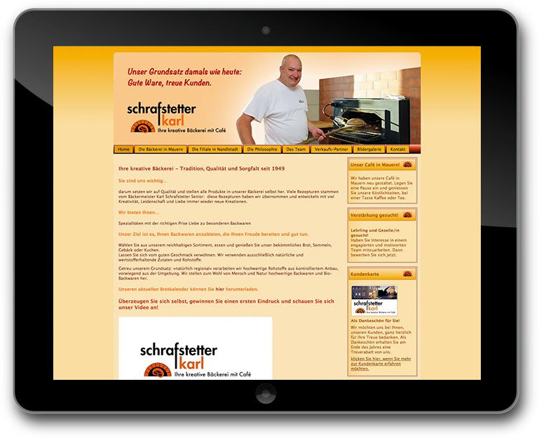 Schrafstetter - Bäckerei - Café - Alte Website