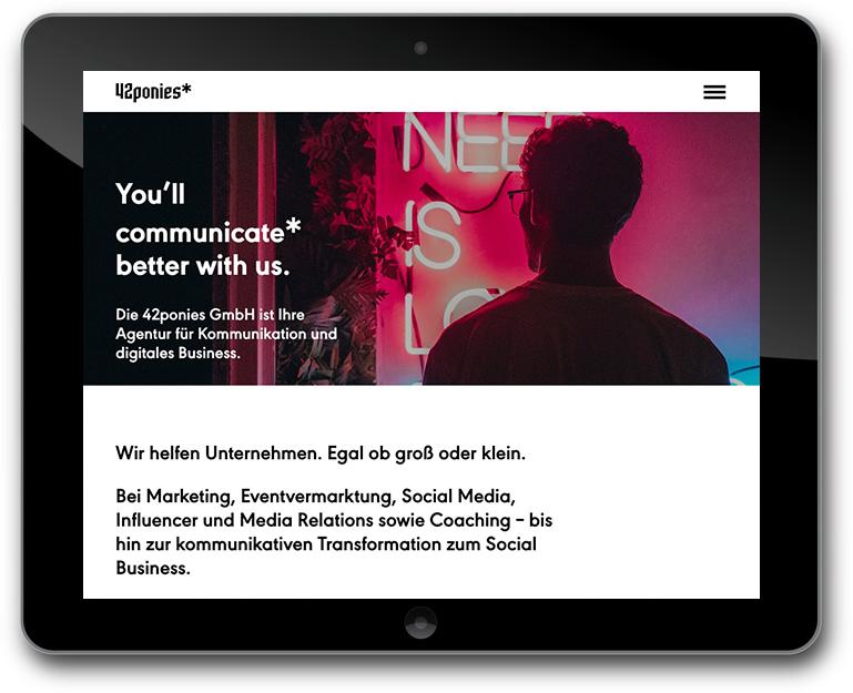 Website - 42 ponies* | Agentur für Kommunikation und digitales Business