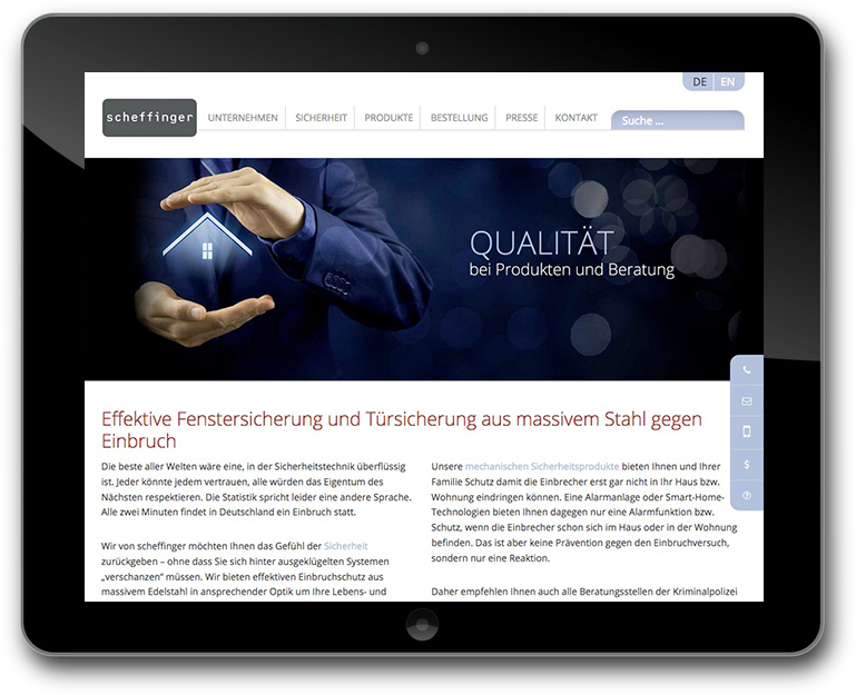 WordPress Website - scheffinger gmbh