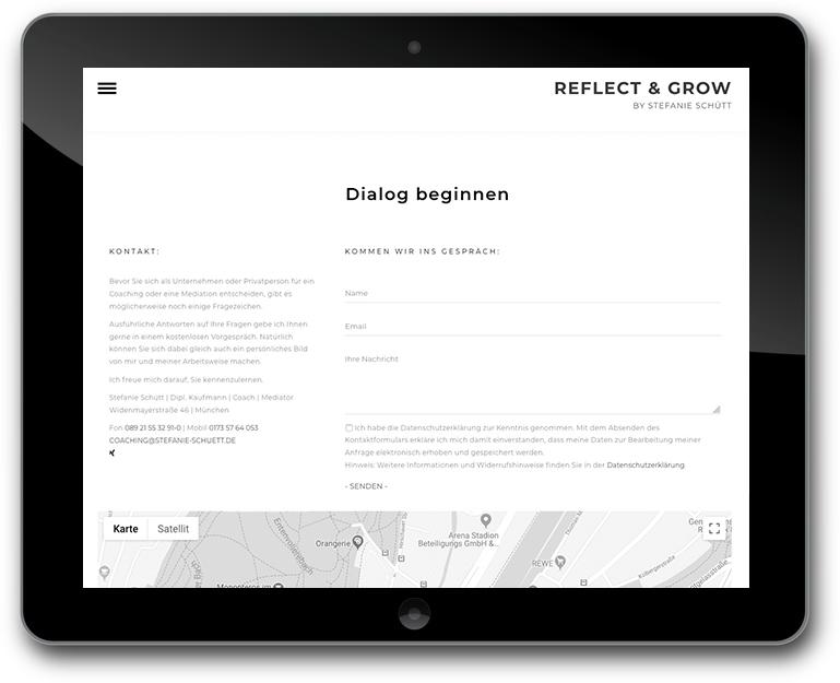 Website mit Kontaktformular und Google Karte