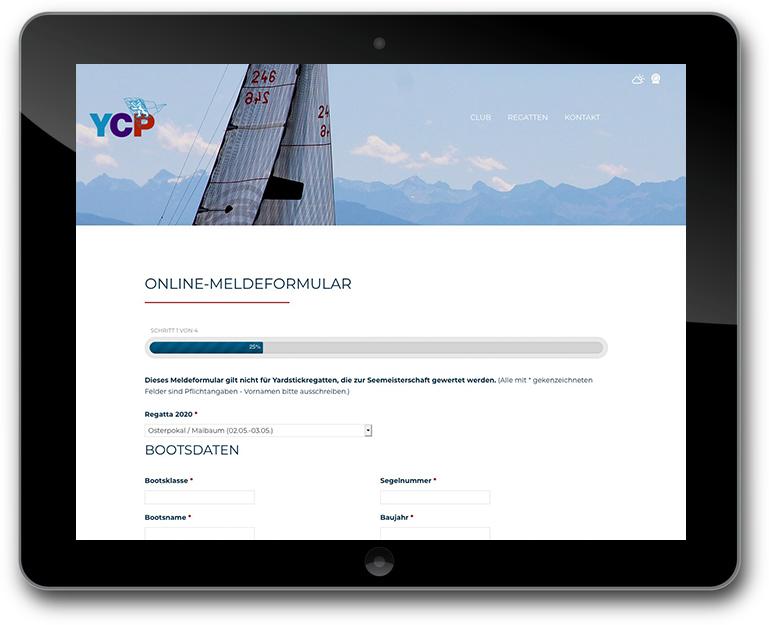 Yachtclub Website mit Online Meldeformular