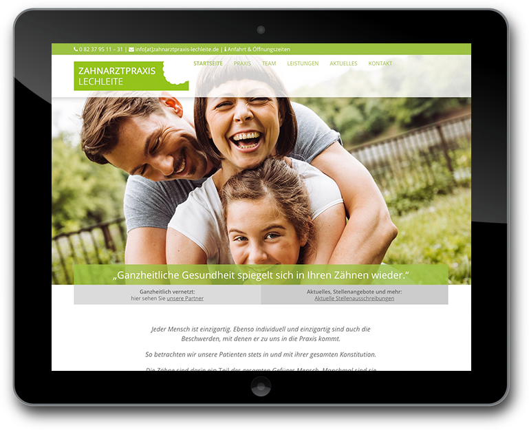 Moderne Responsive Zahnarztpraxis Website