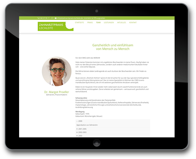 Zahnarztpraxis mit Team Darstellung - WordPress