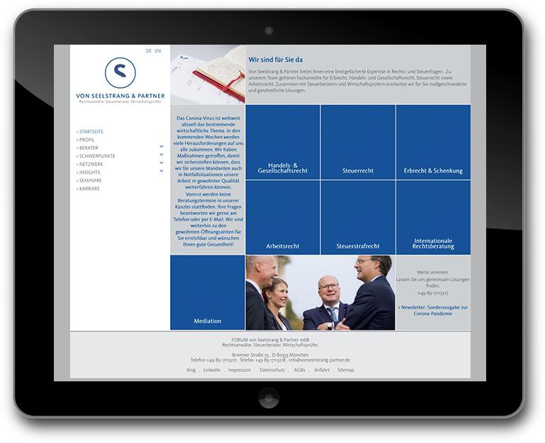 Website für Rechtsanwälte, Steuerberater, Wirtschaftsprüfer