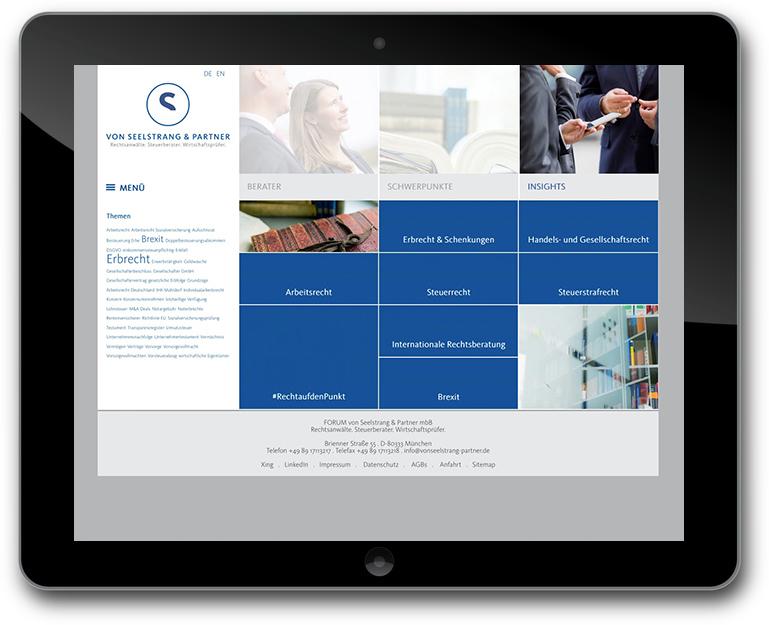 Rechtsanwälte Steuerberater Wirtschaftsprüfer website mit News/Insights